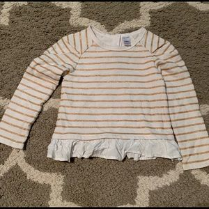 4T old navy gold white stripe ruffle top sweater